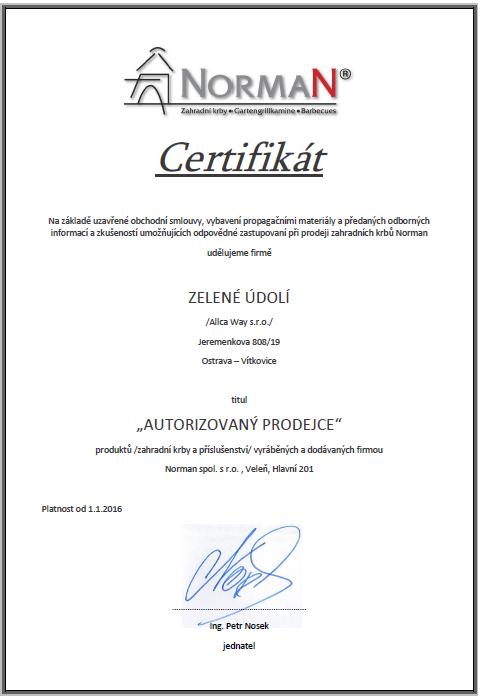 Certifikát prodejce