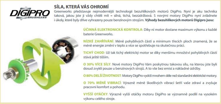Výhody Greenworks DIGIPRO 60 V