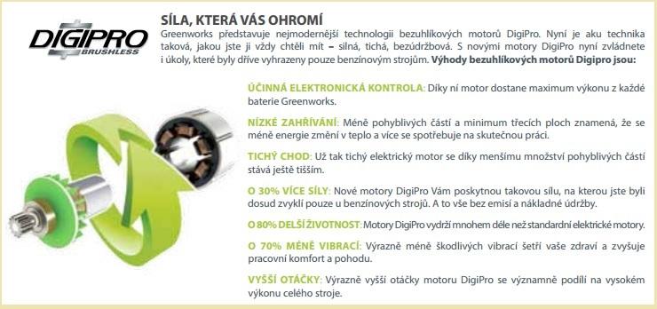 Digipro Greenworks - špičkové bezuhlíkové motory