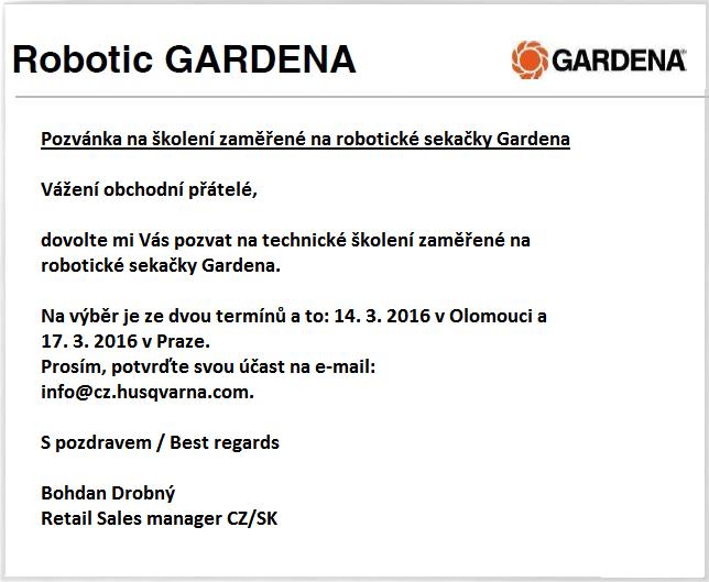 Zelené údolí a školení robotických sekaček Gardena