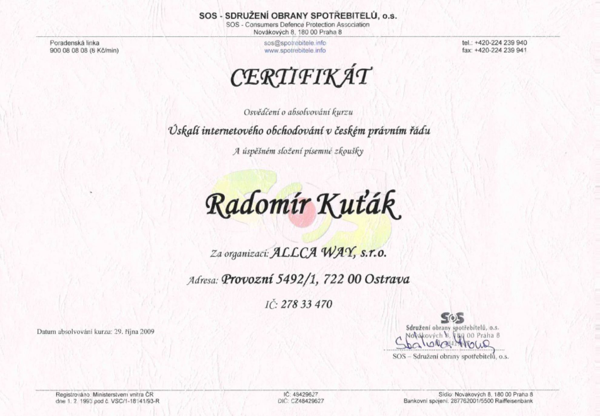certifikát od SOS