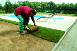 2, Začínejte pokládat trávníkový koberec na délku, rovnoběžně s delší stranou pozemku.